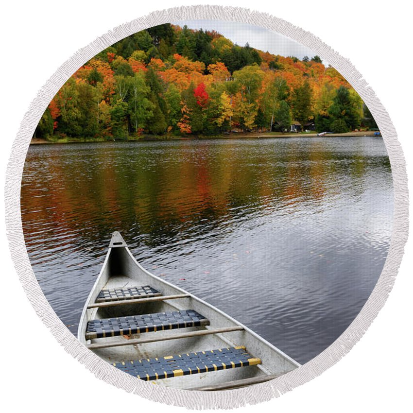 Canoe Round Beach Towel featuring the photograph Canoe On A Lake by Maxim Images Prints