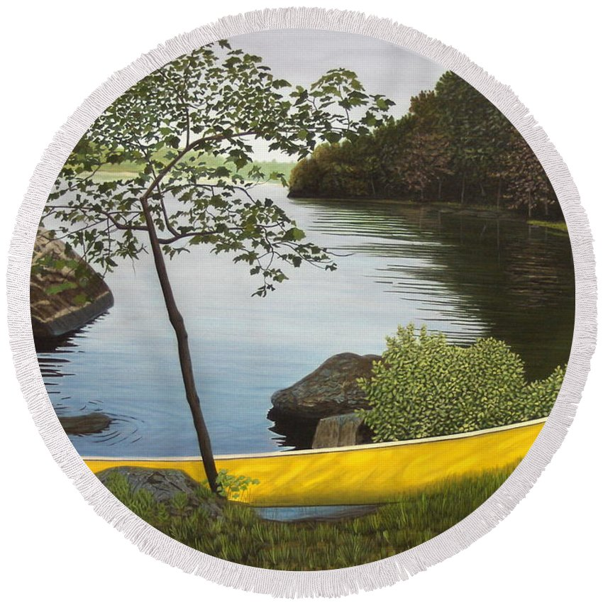 Landscapes Round Beach Towel featuring the painting Canoe On The Bay by Kenneth M Kirsch