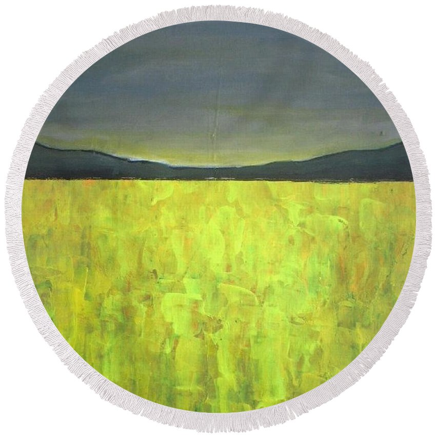 Landscape Round Beach Towel featuring the painting Canola Fields N05 by Vesna Antic