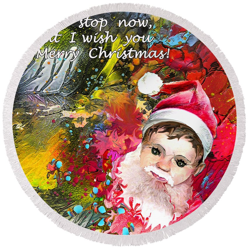 Santa Baby Painting Round Beach Towel featuring the painting Cant Stop Now by Miki De Goodaboom