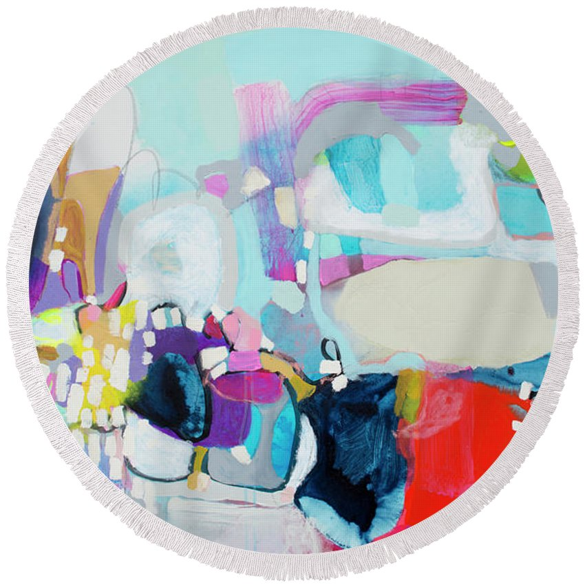 Abstract Round Beach Towel featuring the painting Can't Wait by Claire Desjardins