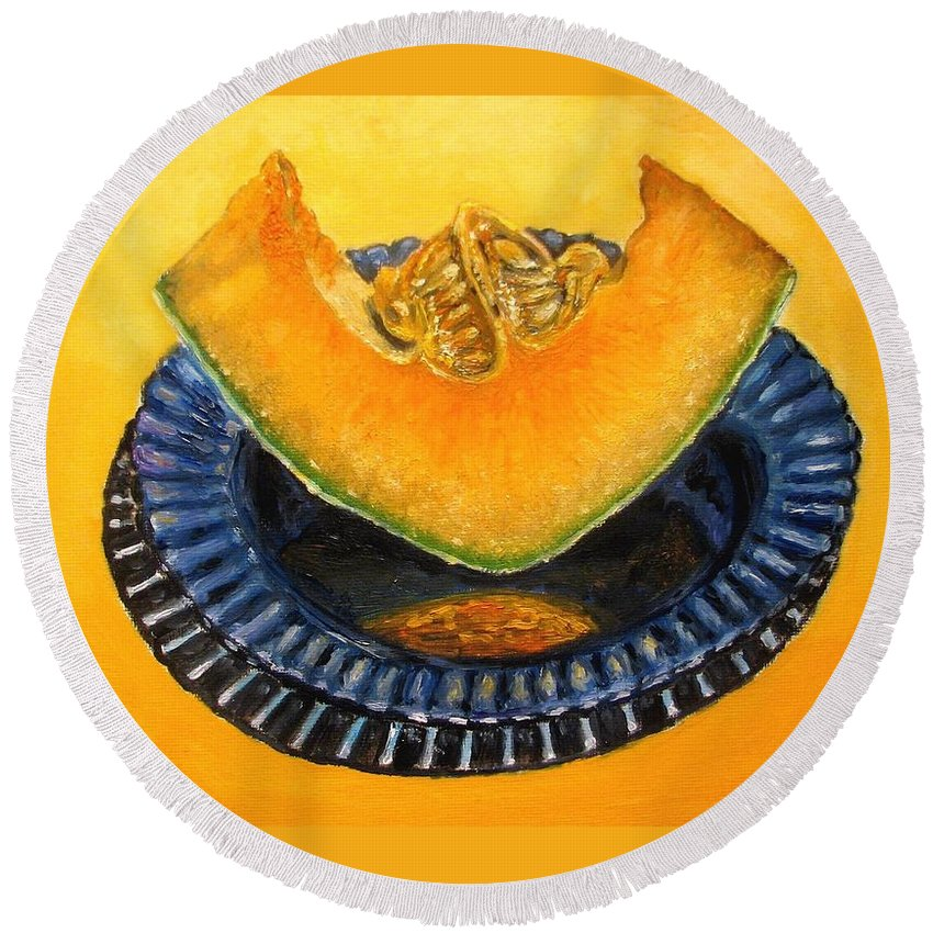Cantaloupe Round Beach Towel featuring the painting Cantaloupe Oil Painting by Natalja Picugina