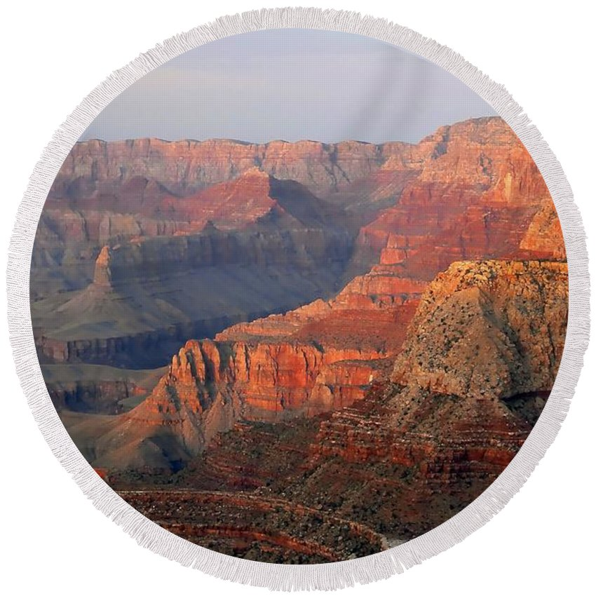 Grand Canyon Round Beach Towel featuring the photograph Canyon Dusk by David Lee Thompson
