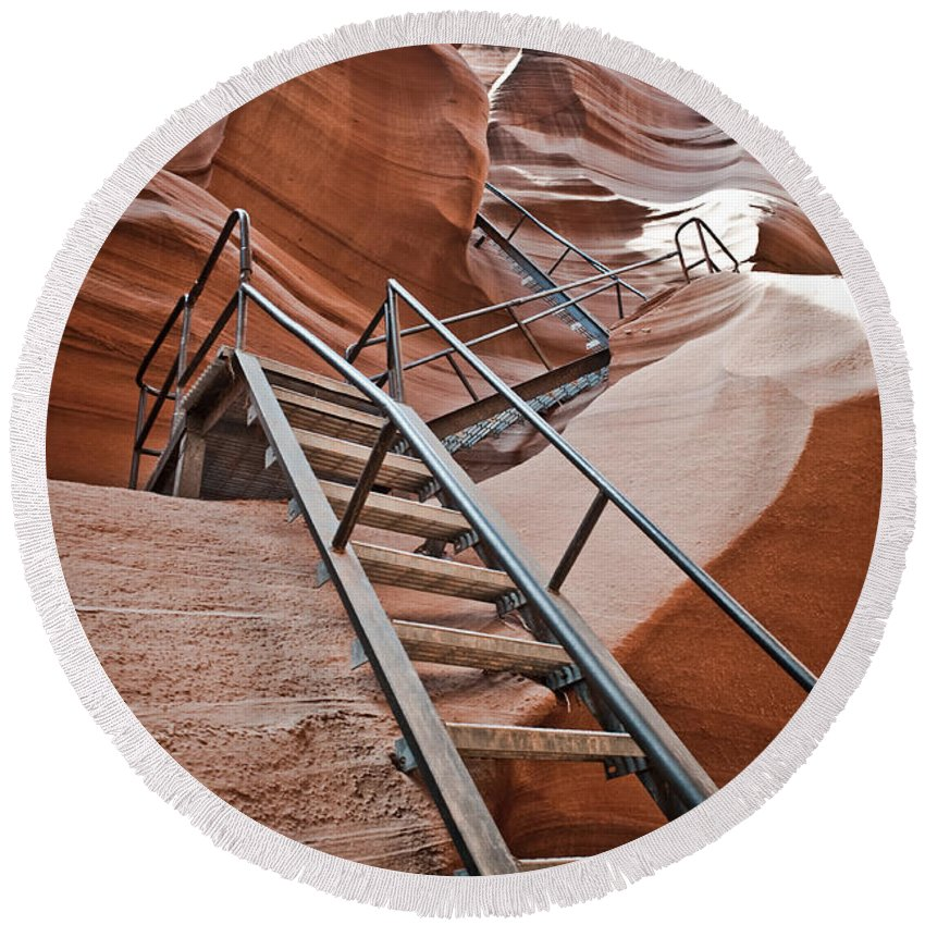 Slot Canyon Round Beach Towel featuring the photograph Canyon Exit by Scott Sawyer