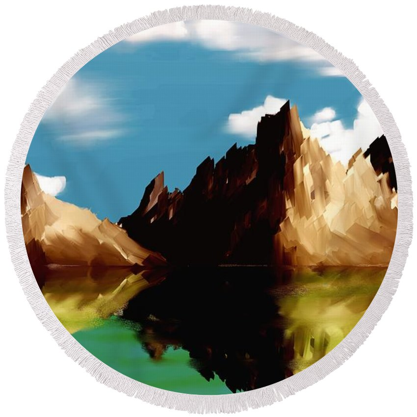 Digital Art Round Beach Towel featuring the digital art Canyon Lake by David Lane