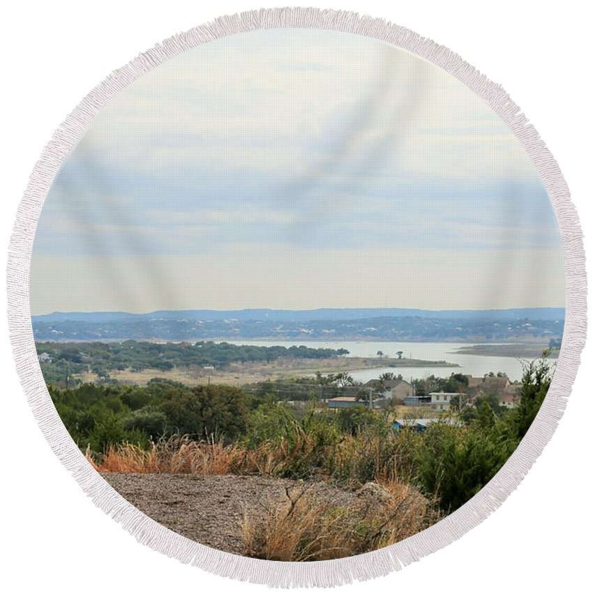Round Beach Towel featuring the photograph Canyon Lake by Jeff Downs