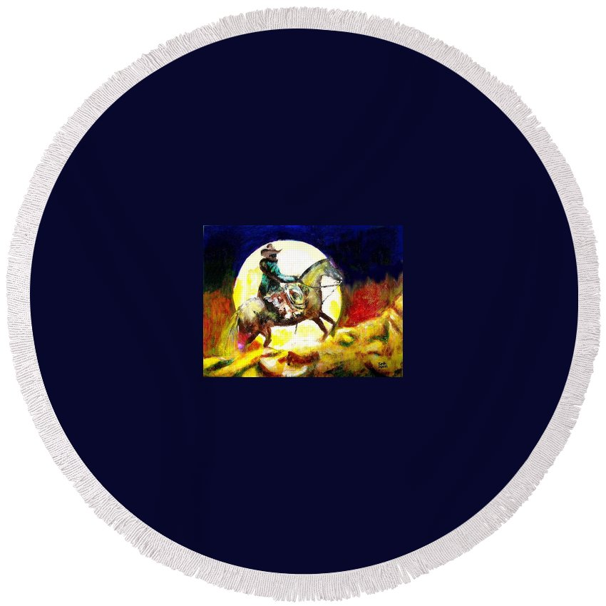 Canyon Moon Round Beach Towel featuring the painting Canyon Moon by Seth Weaver