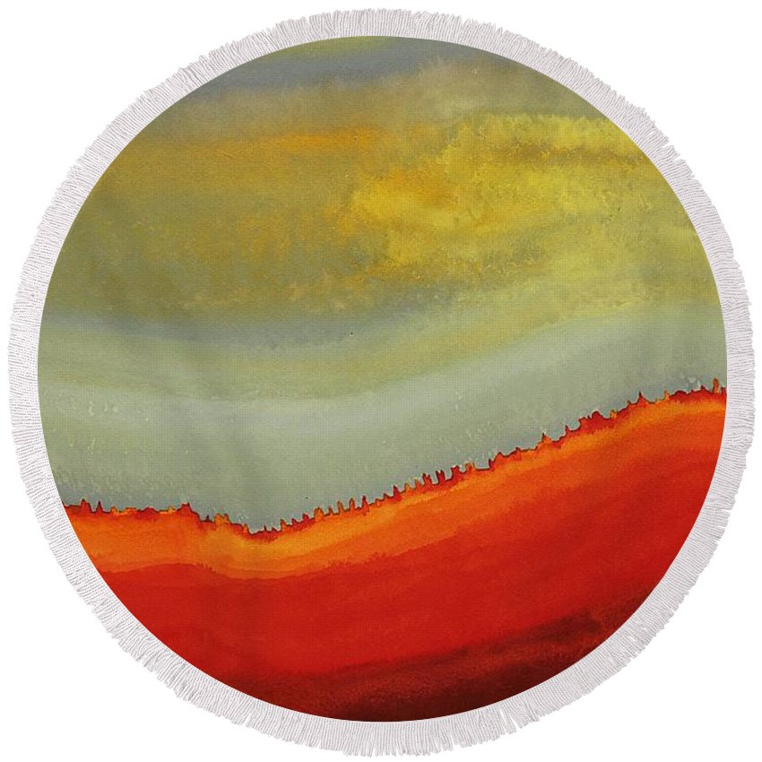 Canyon Round Beach Towel featuring the painting Canyon Outlandish Original Painting by Sol Luckman