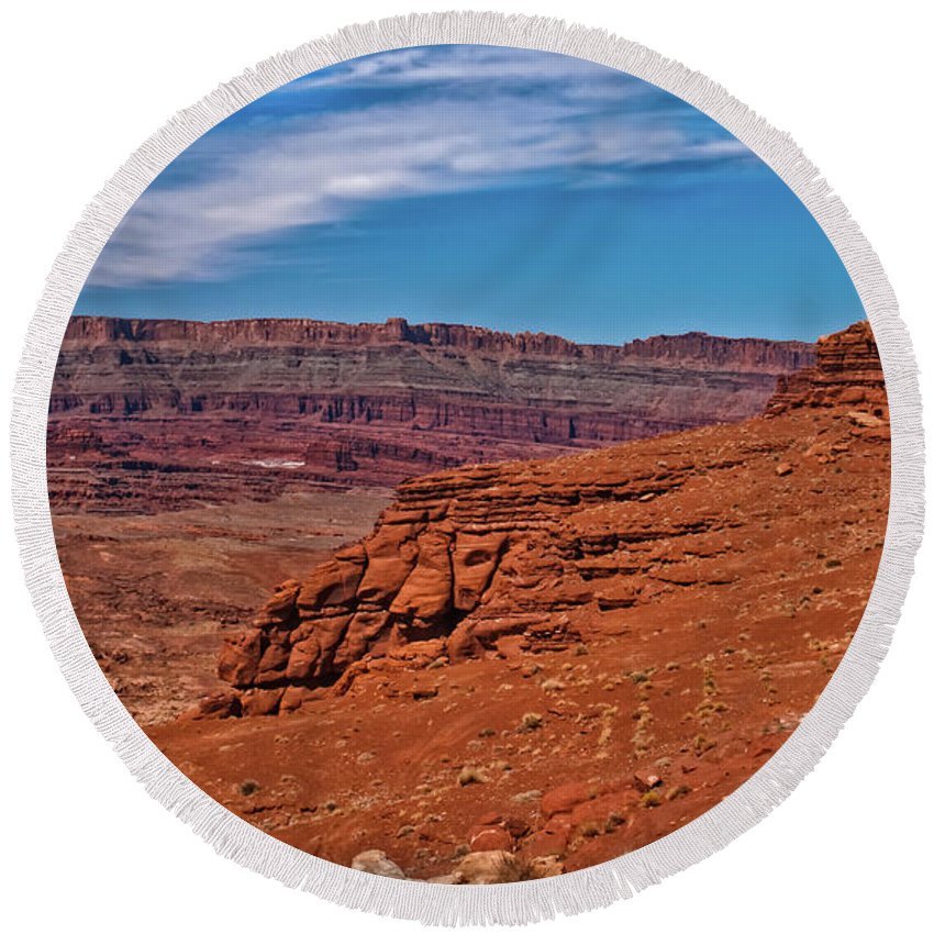 Sandstone Round Beach Towel featuring the photograph Canyon Rim by Robert Bales