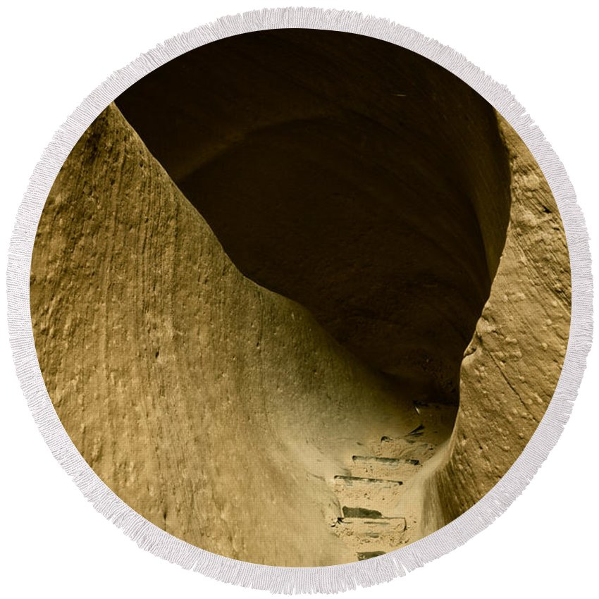 Photograph Round Beach Towel featuring the photograph Canyon Steps by Scott Sawyer