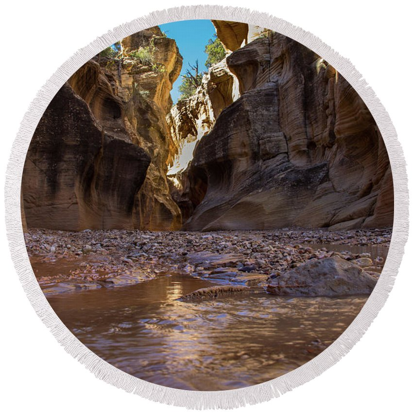 Canyon Round Beach Towel featuring the photograph Canyon Stream by Kathy Whitehurst