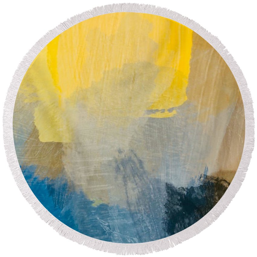 Sun Round Beach Towel featuring the painting Canyon Sunrise by Chris Fulks