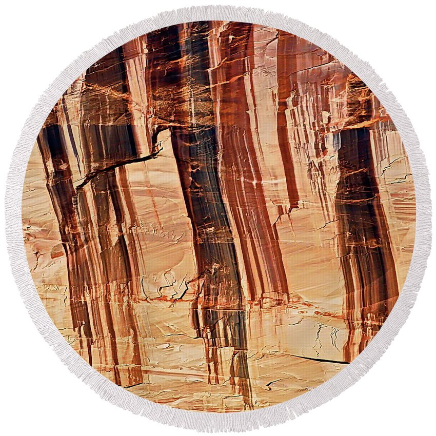 Digital Color Photo Round Beach Towel featuring the photograph Canyon Textile Design by Tim Richards