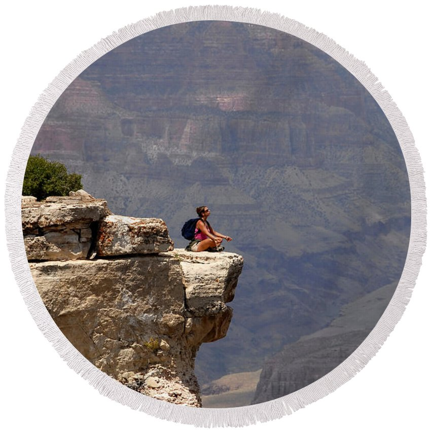 Grand Canyon National Park Arizona Round Beach Towel featuring the photograph Canyon Thoughts by David Lee Thompson