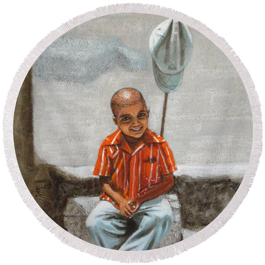 Cap Round Beach Towel featuring the painting Cap Off by Usha Shantharam