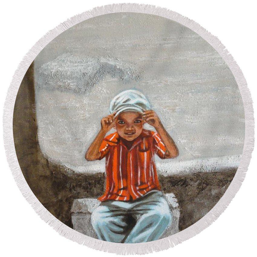 Cap Round Beach Towel featuring the painting Cap On by Usha Shantharam