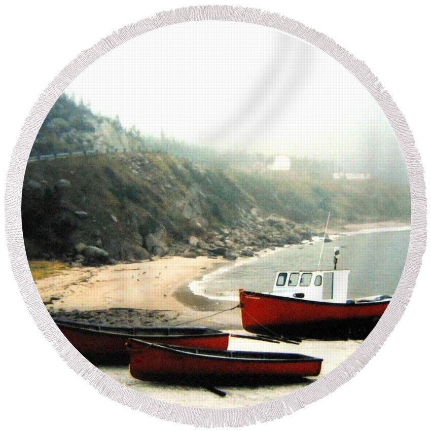 Fishing Boats Round Beach Towel featuring the photograph Cape Breton Fishing Boats by Will Borden