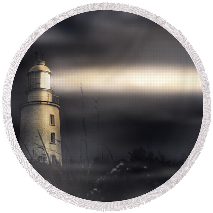 Lighthouse Round Beach Towel featuring the photograph Cape Bruny Lighthouse by Jorgo Photography - Wall Art Gallery