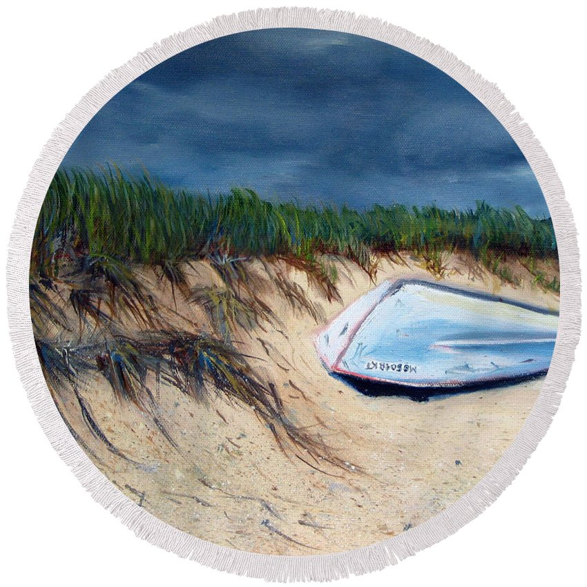 Boat Round Beach Towel featuring the painting Cape Cod Boat by Paul Walsh