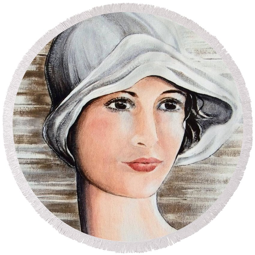 Cape Cod Round Beach Towel featuring the painting Cape Cod Girl by Barbara Chase