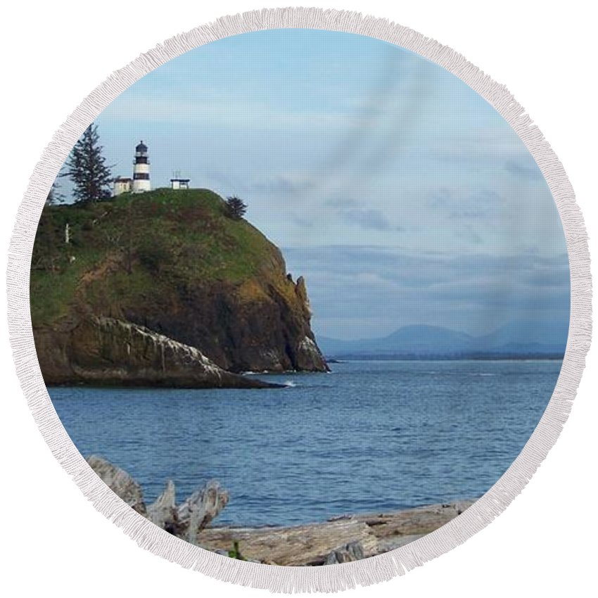 Lighthouse Round Beach Towel featuring the photograph Cape Disappointment by Charles Robinson