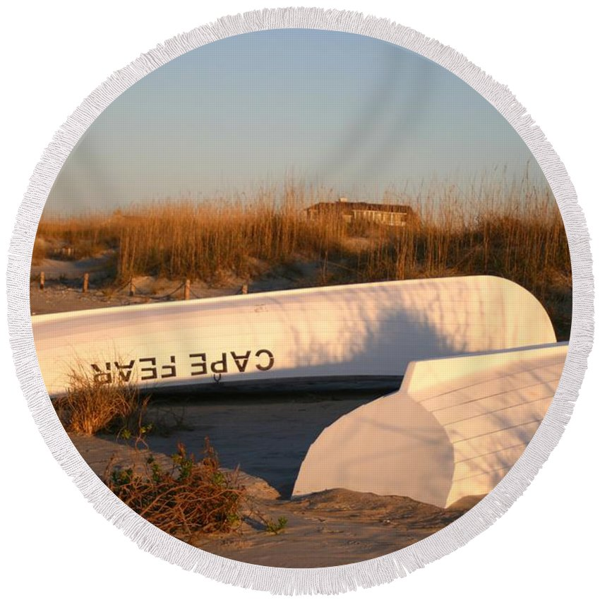 Boats Round Beach Towel featuring the photograph Cape Fear Boats by Nadine Rippelmeyer