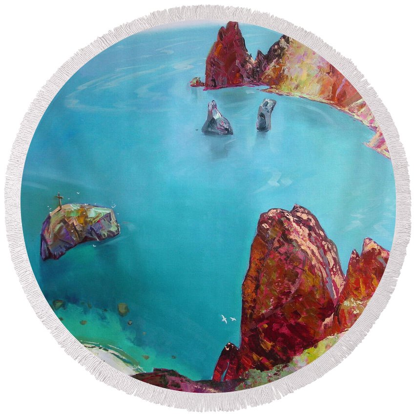 Ignatenko Round Beach Towel featuring the painting Cape Fiolent by Sergey Ignatenko