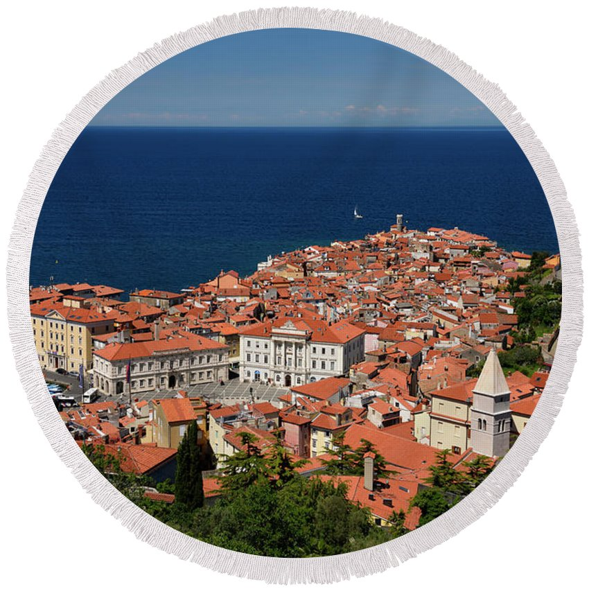 Piran Round Beach Towel featuring the photograph Cape Madonna At Point Of Piran Slovenia On Blue Adriatic Sea Wit by Reimar Gaertner