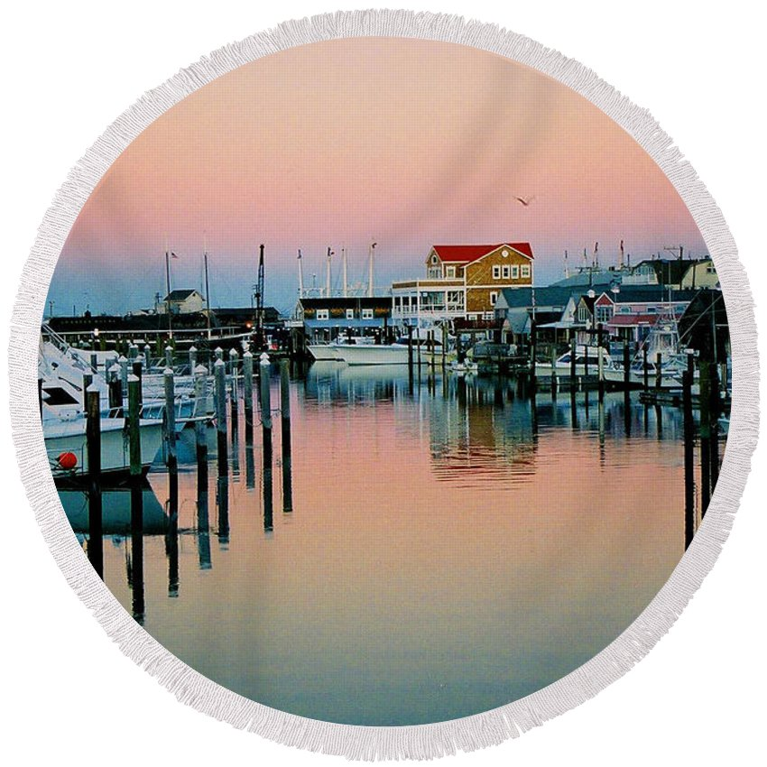 Cape May Round Beach Towel featuring the photograph Cape May After Glow by Steve Karol