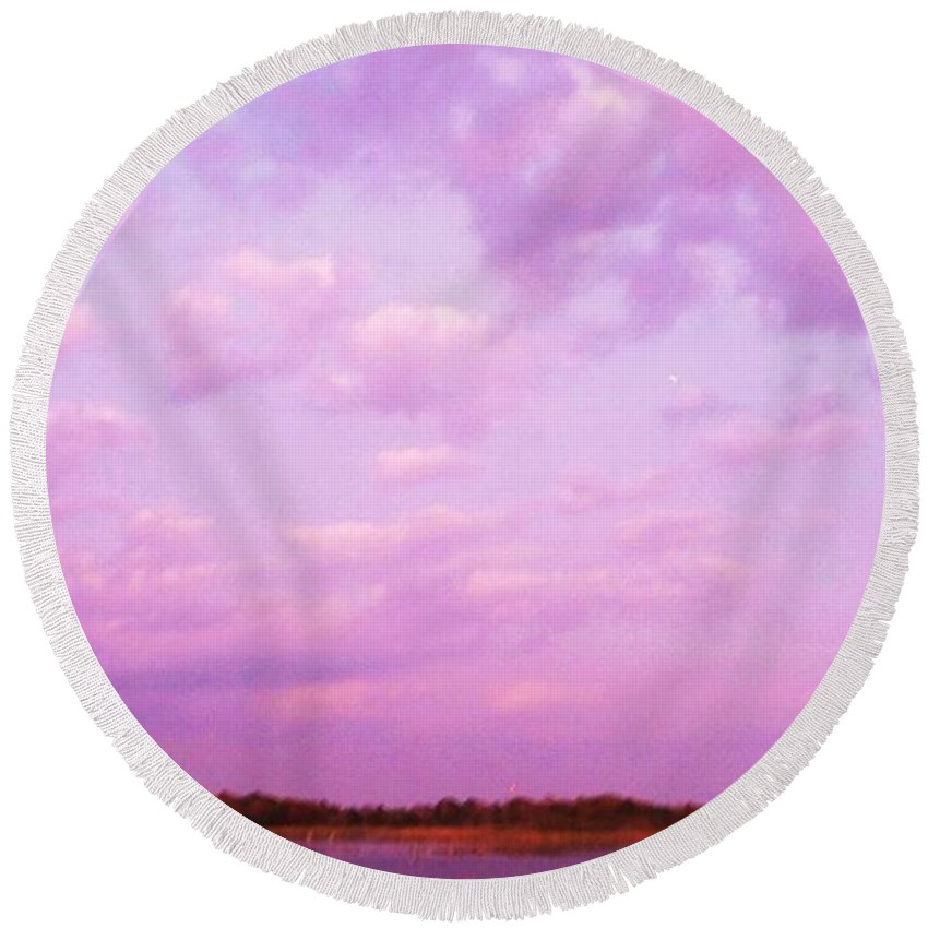 Cape May Point Nj Round Beach Towel featuring the painting Cape May Point State Park Lanscape And Clouds by Eric Schiabor