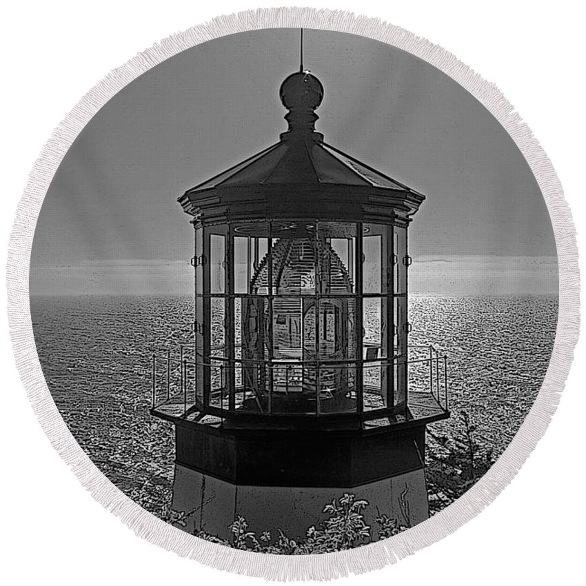 Oregon Round Beach Towel featuring the photograph Cape Meares Light - Black And White by Rich Walter