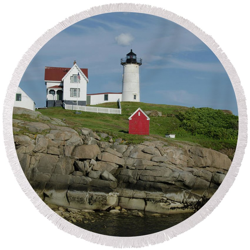 Cape Neddick Round Beach Towel featuring the photograph Cape Neddick Light by Janice Adomeit
