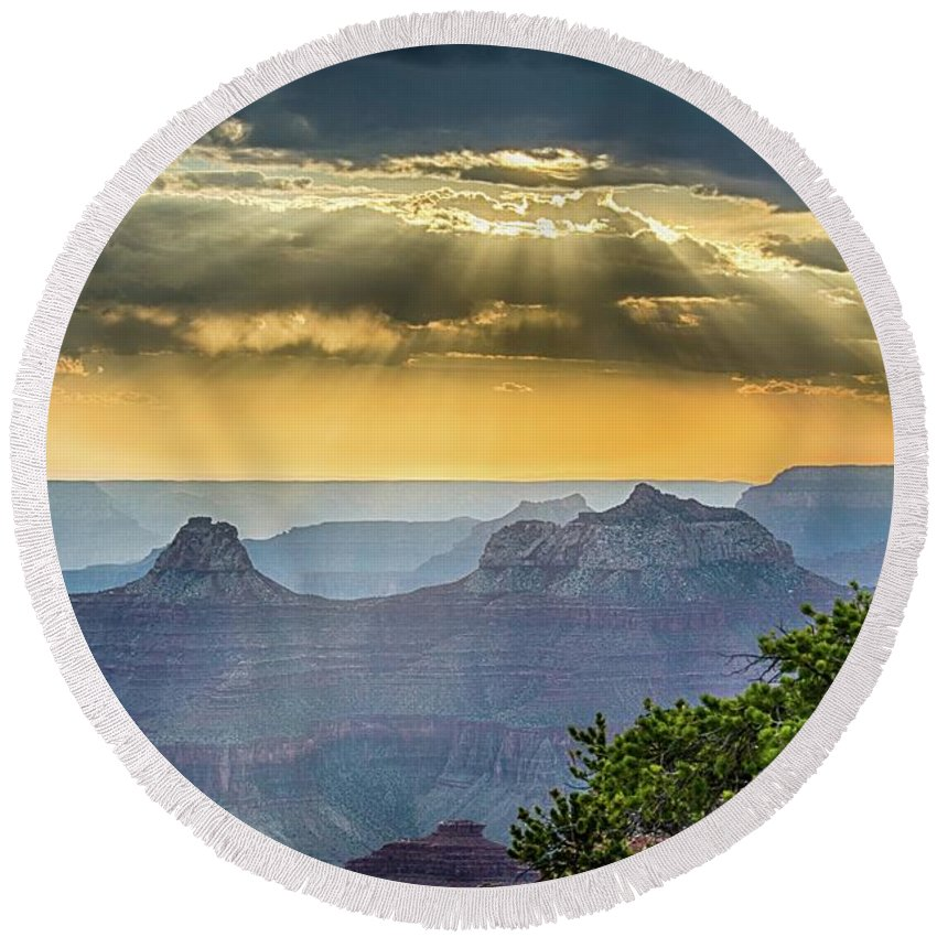 Crepuscular Round Beach Towel featuring the photograph Cape Royal Crepuscular Rays by Gaelyn Olmsted