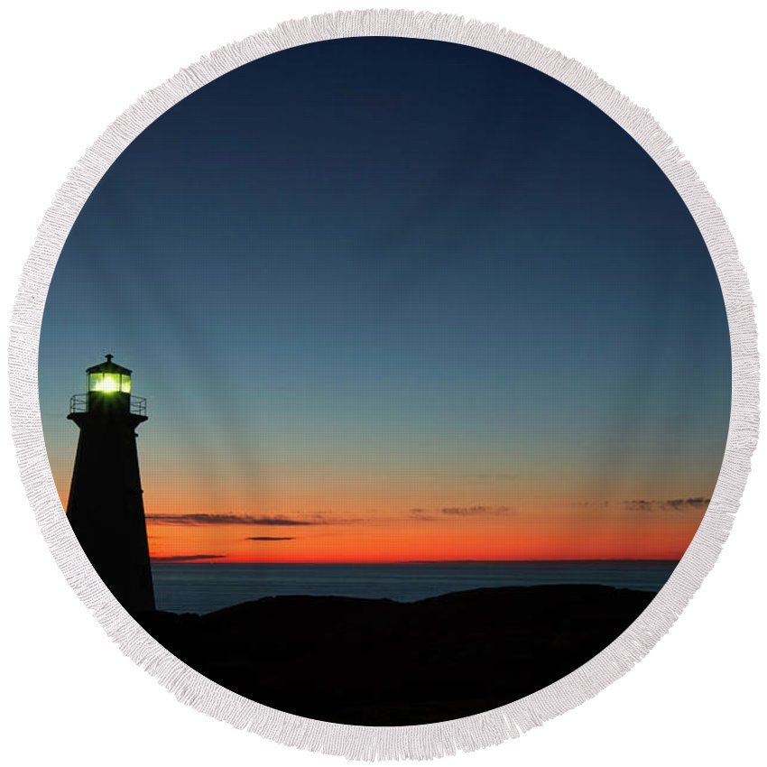 Canada Round Beach Towel featuring the photograph Cape Spear Sunrise by Linda Cullivan