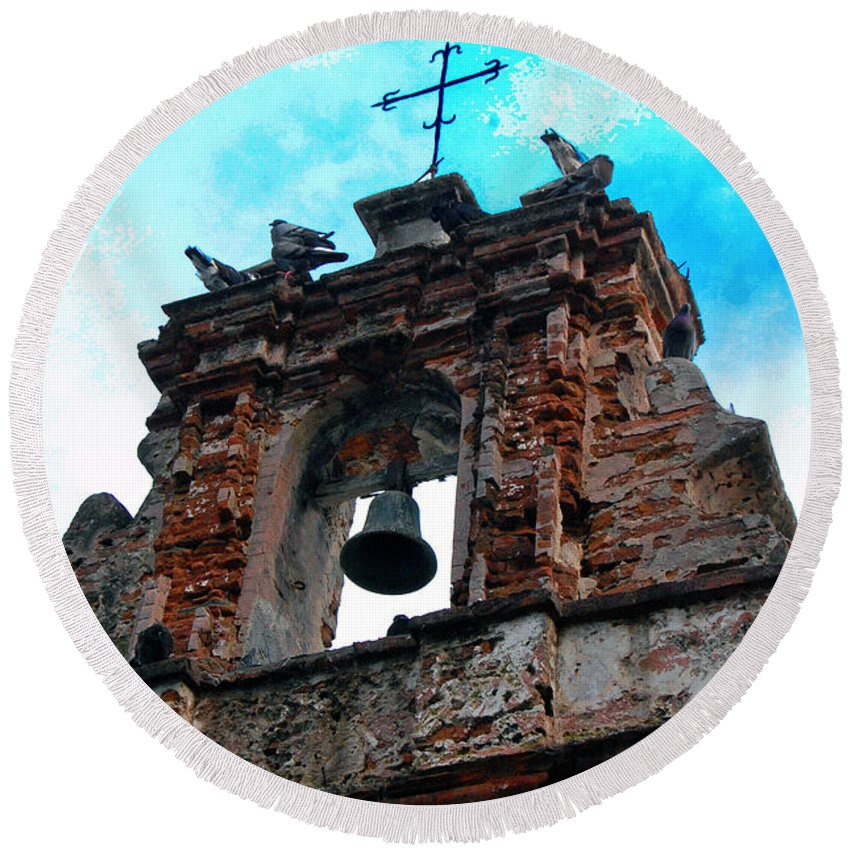San Juan Round Beach Towel featuring the photograph Capilla De Cristo  by Debbi Granruth