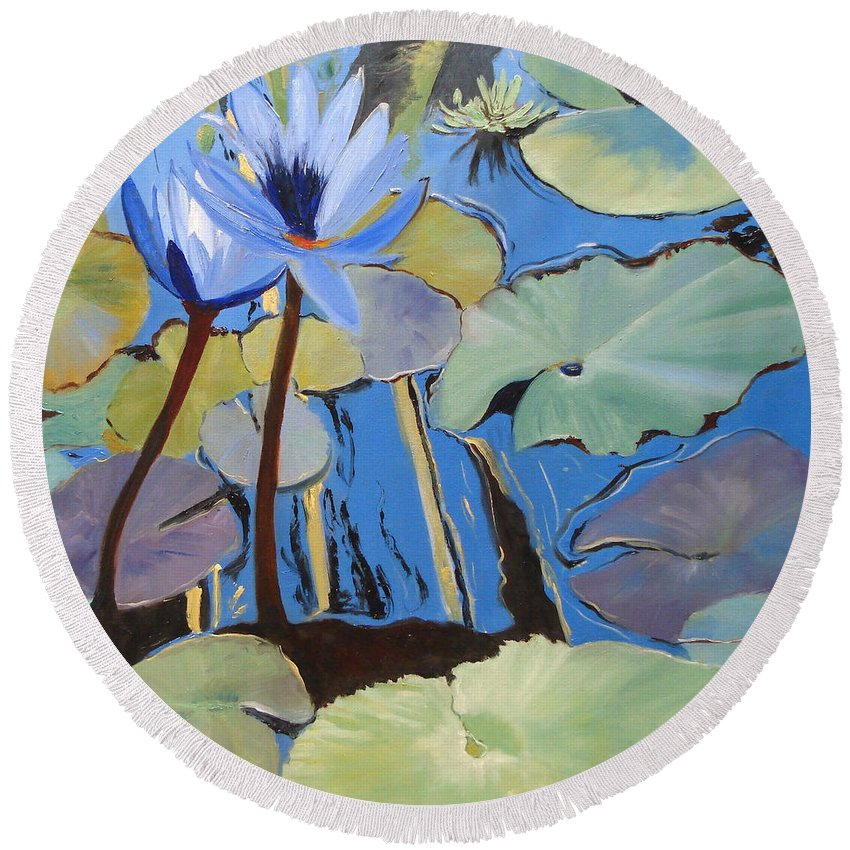 Lillies Round Beach Towel featuring the painting Capistrano Lillies by Barbara Andolsek