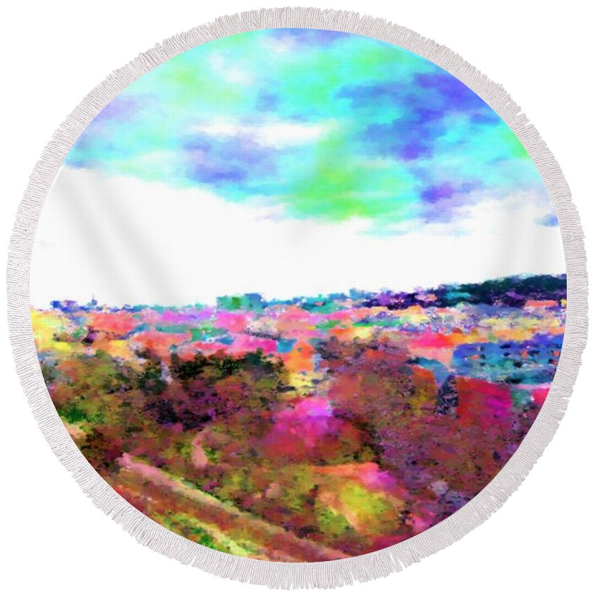 Aquarelle Round Beach Towel featuring the digital art Capital by Lenka Rottova