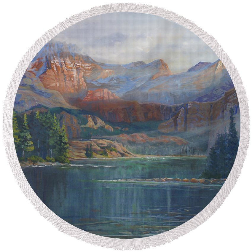 Capital Peak Round Beach Towel featuring the painting Capitol Peak Rocky Mountains by Heather Coen