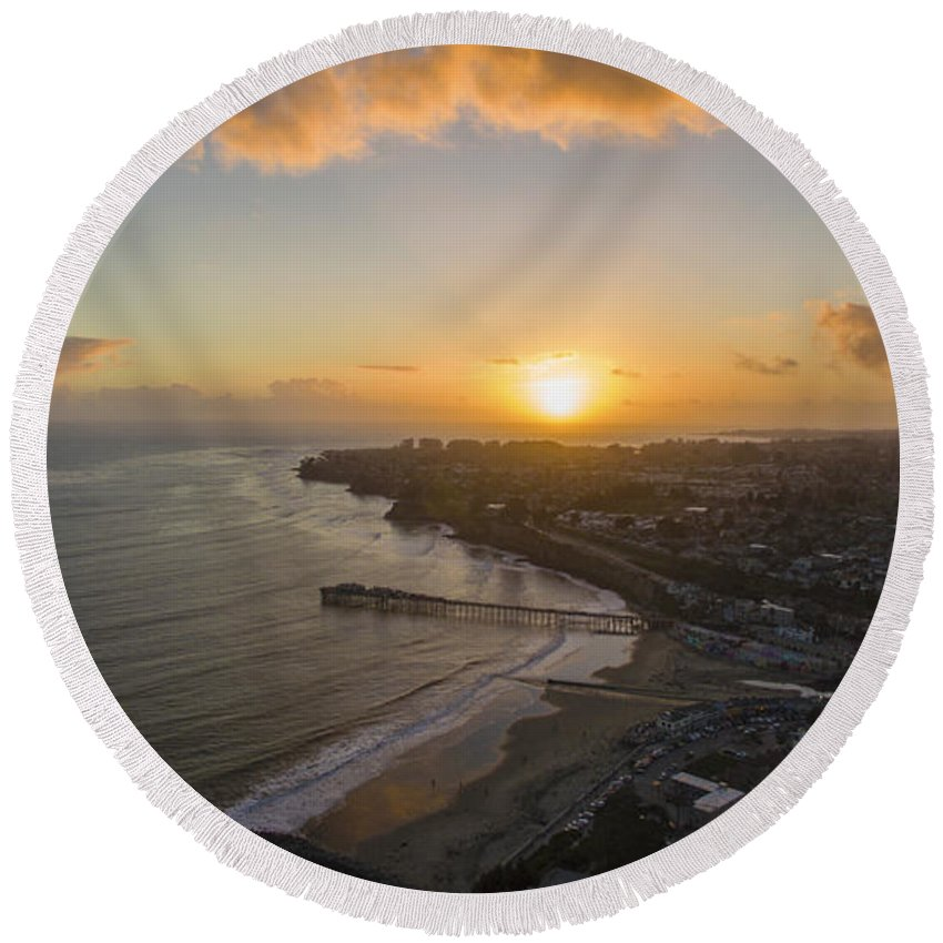 Above Round Beach Towel featuring the photograph Capitola Dreamin' by David Levy