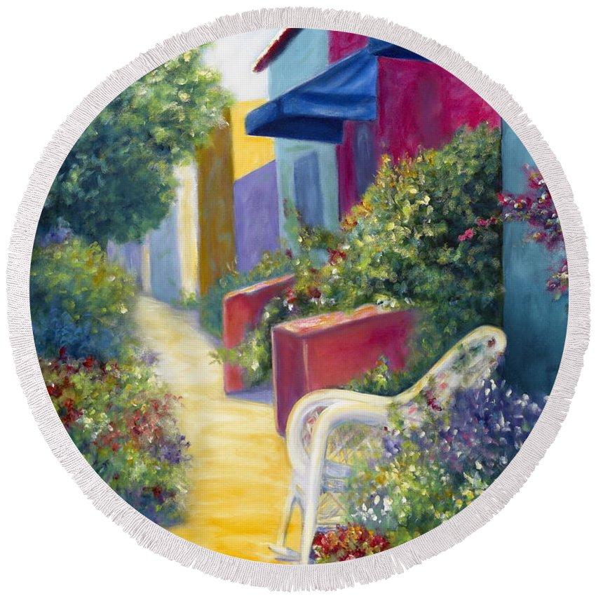 Capitola Round Beach Towel featuring the painting Capitola Dreaming by Shannon Grissom