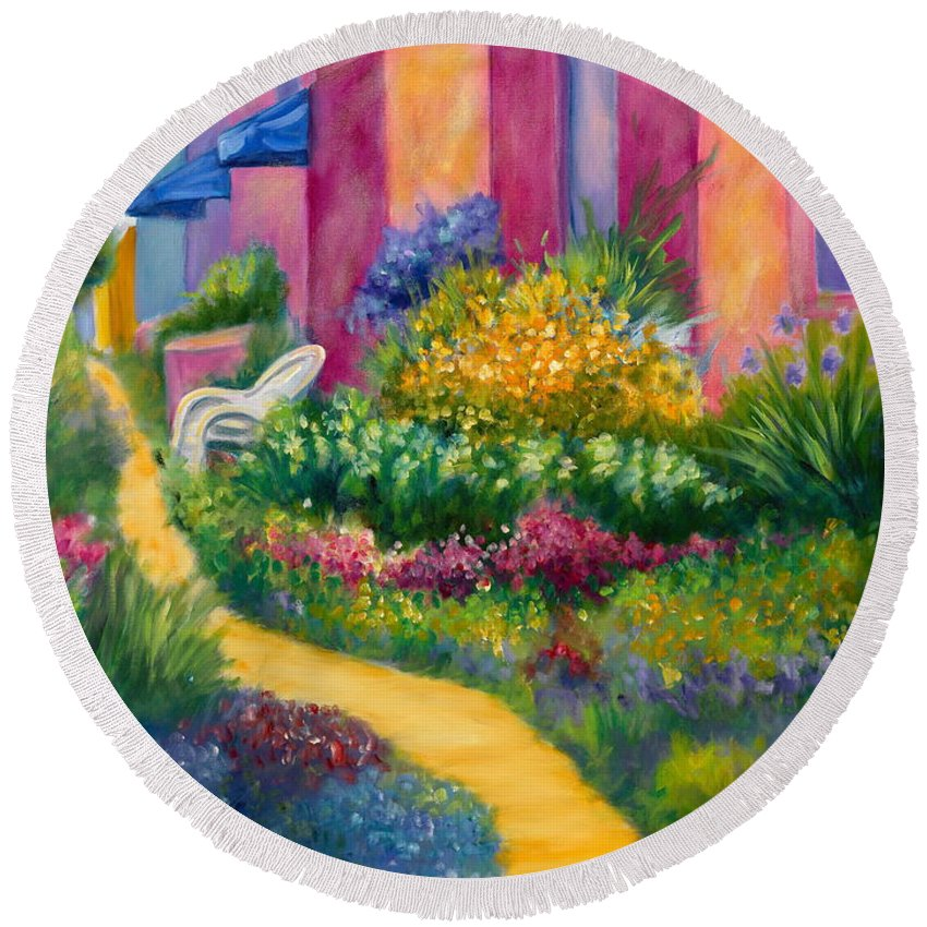 Landscape Round Beach Towel featuring the painting Capitola Dreaming Too by Shannon Grissom