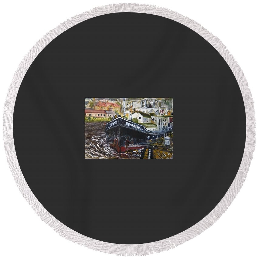 Landscape Round Beach Towel featuring the painting capo Jirka by Pablo de Choros