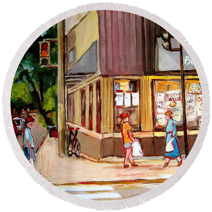 Cafes Round Beach Towel featuring the painting Cappucino Cafe At Beauty's Restaurant by Carole Spandau