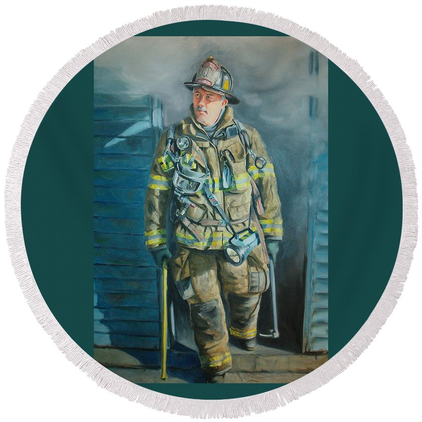 Firefighter Round Beach Towel featuring the painting Captain Harris by Paul Walsh
