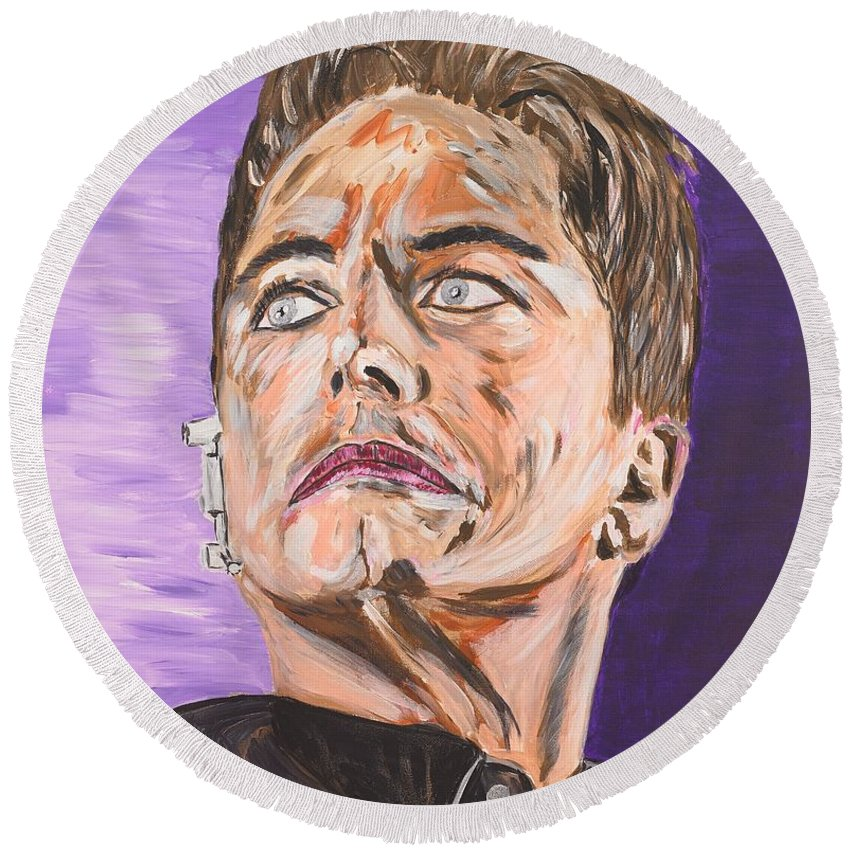 Torchwood Round Beach Towel featuring the painting Captain Jack Harkness by Valerie Ornstein