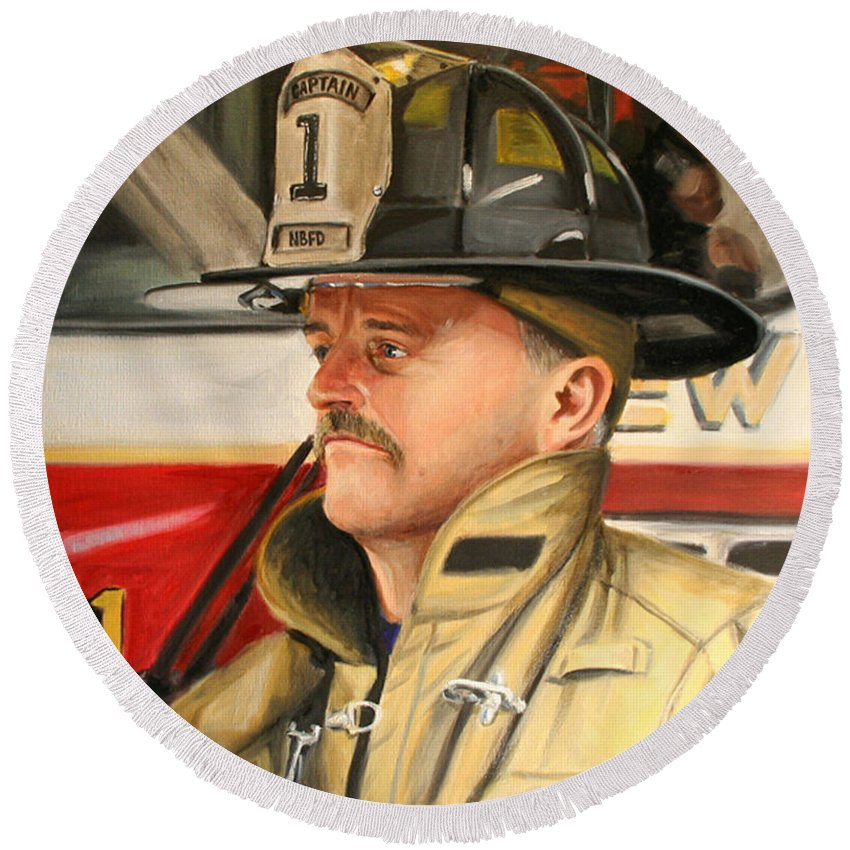 Firefighter Round Beach Towel featuring the painting Captain by Paul Walsh