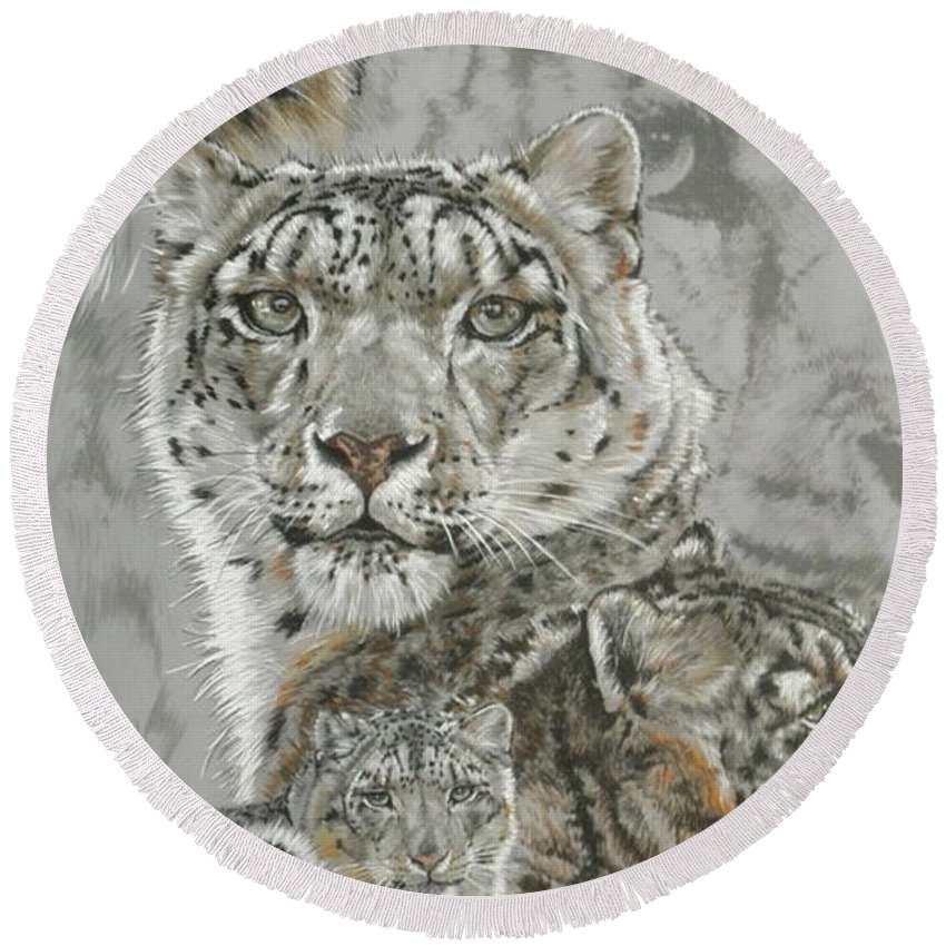 Snow Leopard Round Beach Towel featuring the mixed media Captivating by Barbara Keith
