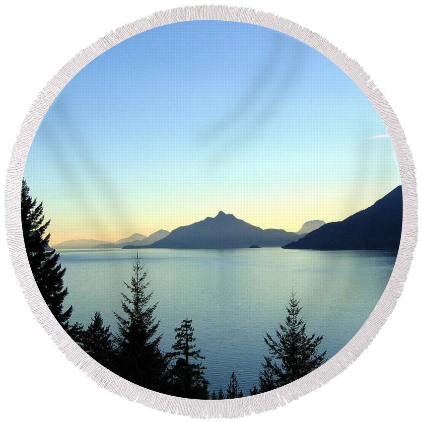 Howe Sound Round Beach Towel featuring the photograph Captivating Howe Sound by Will Borden
