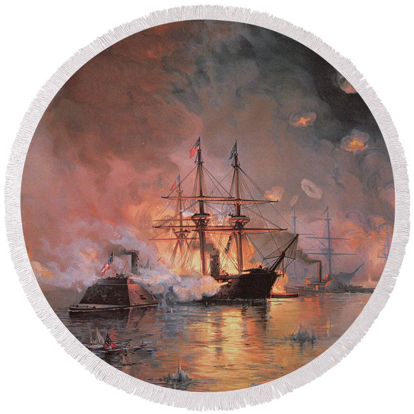 Capture Of New Orleans By Union Flag Officer David G. Farragut Round Beach Towel featuring the painting Capture Of New Orleans By Union Flag Officer David G Farragut by Julian Oliver Davidson