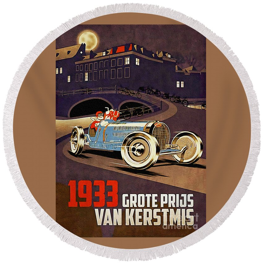 Racing Car Round Beach Towel featuring the painting Car Racing Christmas Poster Of The 30s by Ian Gledhill